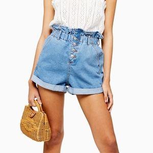 TOPSHOP Paperbag Denim Shorts